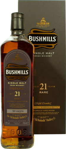 Bushmills Three Wood Irish Single Malt Whiskey - 21 Jahre - 40,0% Vol. - 0,7 ltr.