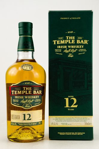 The Temple Bar Irish Single Malt Whiskey - 12 Jahre - 40,0% Vol. - 0,7 ltr.